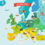 Map of Europe. Travel and tourism background. Vector flat illustration vector illustration