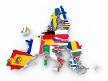 Map europe union after brexit state flags Royalty Free Stock Image