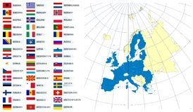 Map of Europe Union and flags Stock Photos