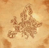 Map Europe vintage craft Royalty Free Stock Image