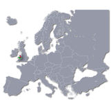 Map of Europe with Wales Royalty Free Stock Photography