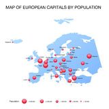 Map european capitals by population Royalty Free Stock Image