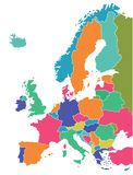 Map of European countries. Colorful illustrated map of all the European countries on a white background Stock Photography
