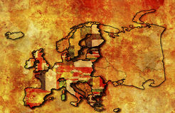 Map of european union. Some very old grunge map of european union with flags of countries Royalty Free Stock Photo
