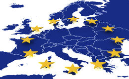 Map of European union. 3D Map of European union with stars Stock Photography