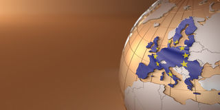 Map of the European Union on Earth Stock Photography