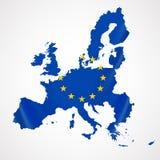 Map of European union and EU flag illustration. Royalty Free Stock Photos