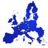 Map of European Union, isolated on white. 3d illustration, with flag of EU Royalty Free Stock Photo