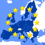 Map of the European Union. Stylized as a flag Royalty Free Stock Photography
