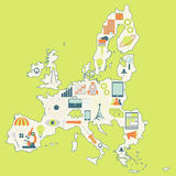 Map of European Union with technology icons Stock Photos