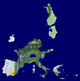 Map of Eurozone made of euro bill. Map of eurozone countries made of 100 euro banknote. Real photo, not a render royalty free illustration