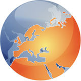 Map of Eurpe on globe   Stock Photography