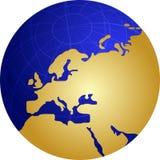 Map of Eurpe on globe  illustration Stock Image