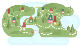 Map With Fairyland. Illustration of landscape with small village near lake and river. Colorful houses, abstract trees and bridges. Cute pathways between houses Stock Photos