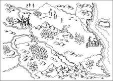Map of Fantasy Land grunge. Illustration drawing of a map of a fantasy land showing rivers, mountain range,trees,forest,monastery,castles,road,sea,coast,land on Stock Photos