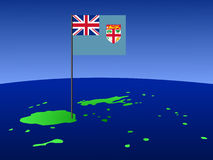 Map of Fiji with flag. Map of Fiji and their flag on pole illustration Stock Image