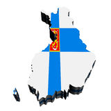 Map of Finland. Against white background. Close up Stock Photo