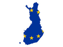 Map of Finland. And European union flag illustration Stock Photos