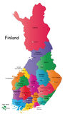 Map of Finland. Finland map designed in illustration with the 20 regions colored in bright colors and with the main cities. Neighbouring countries  are in an Stock Images