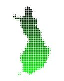 Map of Finland. In squares with green gradient Vector Illustration