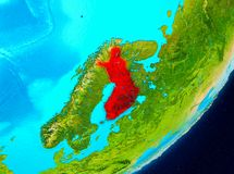 Orbit view of Finland in red. Map of Finland as seen from space on planet Earth. 3D illustration. Elements of this image furnished by NASA Stock Images