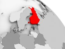 Map of Finland. 3D render of Finland in red on grey political globe. 3D illustration Royalty Free Stock Photo