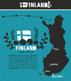 Map of Finland and emblem print Royalty Free Stock Image