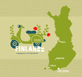Map of Finland and emblem print. Vector illustration Stock Images