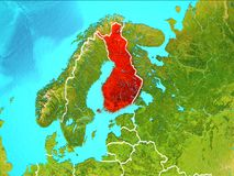 Map of Finland. Finland highlighted in red from Earth's orbit. 3D illustration. Elements of this image furnished by NASA Stock Photo