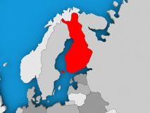 Map of Finland. Finland in red on political map. 3D illustration Stock Photos