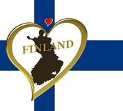 Map of Finland with flag Royalty Free Stock Photography