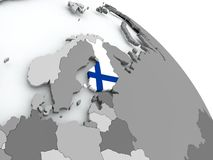 Map of Finland with flag on globe. Finland on globe with flag. 3D illustration Royalty Free Stock Photos