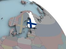 Map of Finland with flag. Illustration of Finland on political globe with embedded flags. 3D illustration Royalty Free Stock Photography