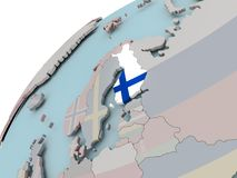 Map of Finland with flag. Finland on political globe with embedded flags. 3D illustration Stock Image