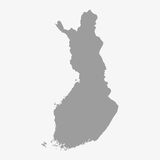 Map of Finland in gray on a white background Stock Images