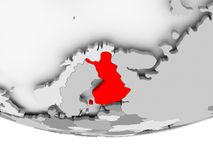 Map of Finland on grey political globe. Finland in red on grey political globe. 3D illustration Stock Photos
