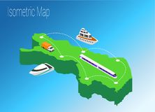 Map Finland isometric concept. Royalty Free Stock Images