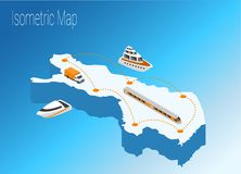 Map Finland isometric concept. 3d flat illustration of Map Finland Royalty Free Stock Images