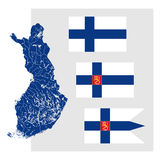 Map of Finland with lakes and rivers and three Finnish flags. Royalty Free Stock Photography