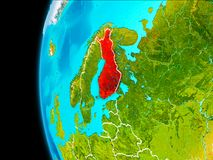 Map of Finland in red. Finland as seen from Earth's orbit on planet Earth highlighted in red with visible borders. 3D illustration. Elements of this image Stock Photography