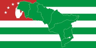 Map and flag of Abkhazia. Stock Image