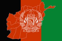 Map and flag of Afghanistan. Vector illustration. World map Stock Photo