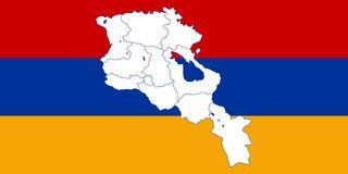 Map and flag of Armenia Stock Images