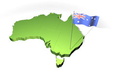 Map and flag of Australia Royalty Free Stock Image