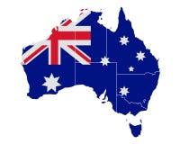 Map and flag of Australia Stock Photo