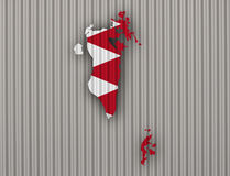 Map and flag of Bahrain on corrugated iron Stock Photos