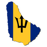 Map flag of Barbados Royalty Free Stock Photo