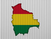 Map and flag of Bolivia on corrugated iron Stock Images