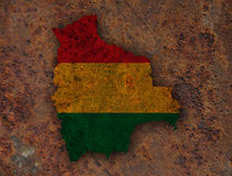 Map and flag of Bolivia on rusty metal Stock Images