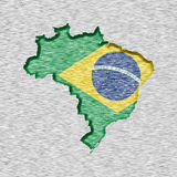 Map and flag of Brazil Royalty Free Stock Photography